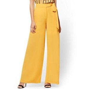 New York & Co Gold Palazzo Pant w/Side Tie - NWT